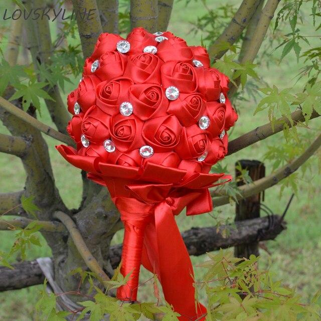 Super Good 100% Crystal Handmade Ribbon Flowers Wedding Bouquets Bridal Bouquet Red Boque noiva Accept your Idea Custom Colors