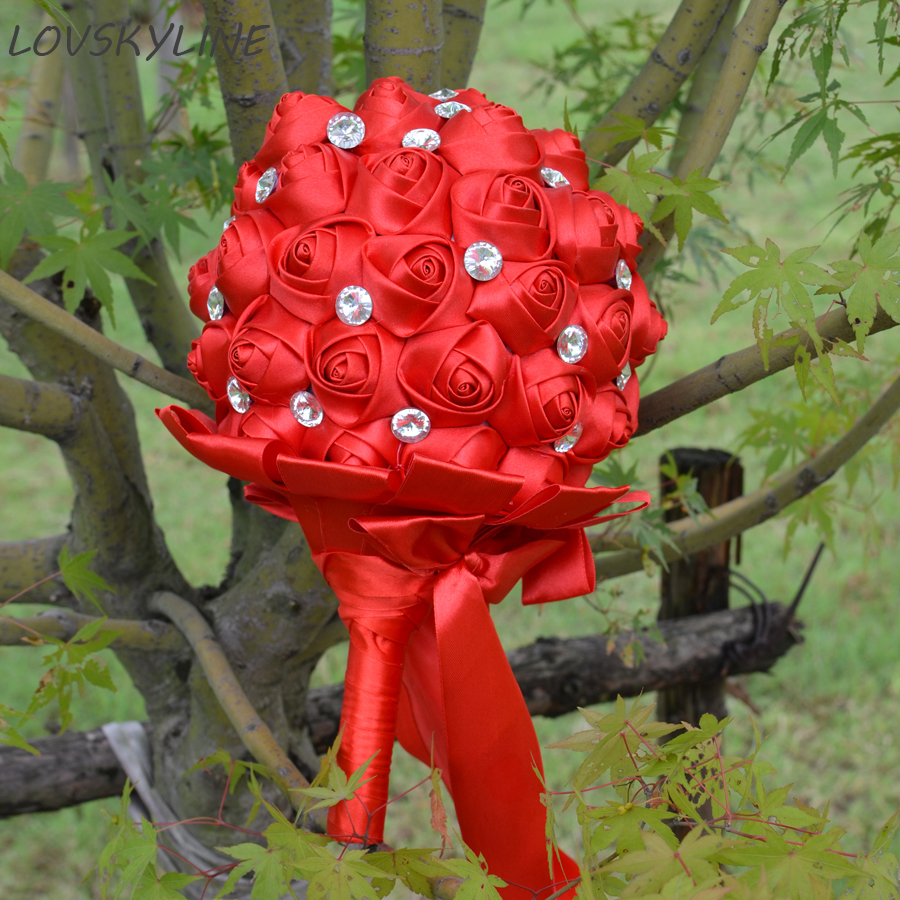 Super Good 100% Crystal Handmade Ribbon Flowers Wedding Bouquets Bridal Bouquet Red Boque noiva Accept your Idea Custom Colors