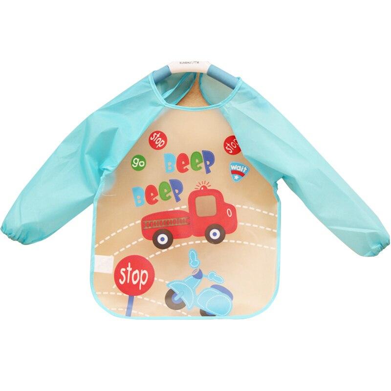 Kawaii Cartoon Baby Toddler Waterproof Bib Long Sleeve Children Lunch  Feeding Towel Art Smock Bibs Apron Kids Autumn Clothing a5324c5f3543