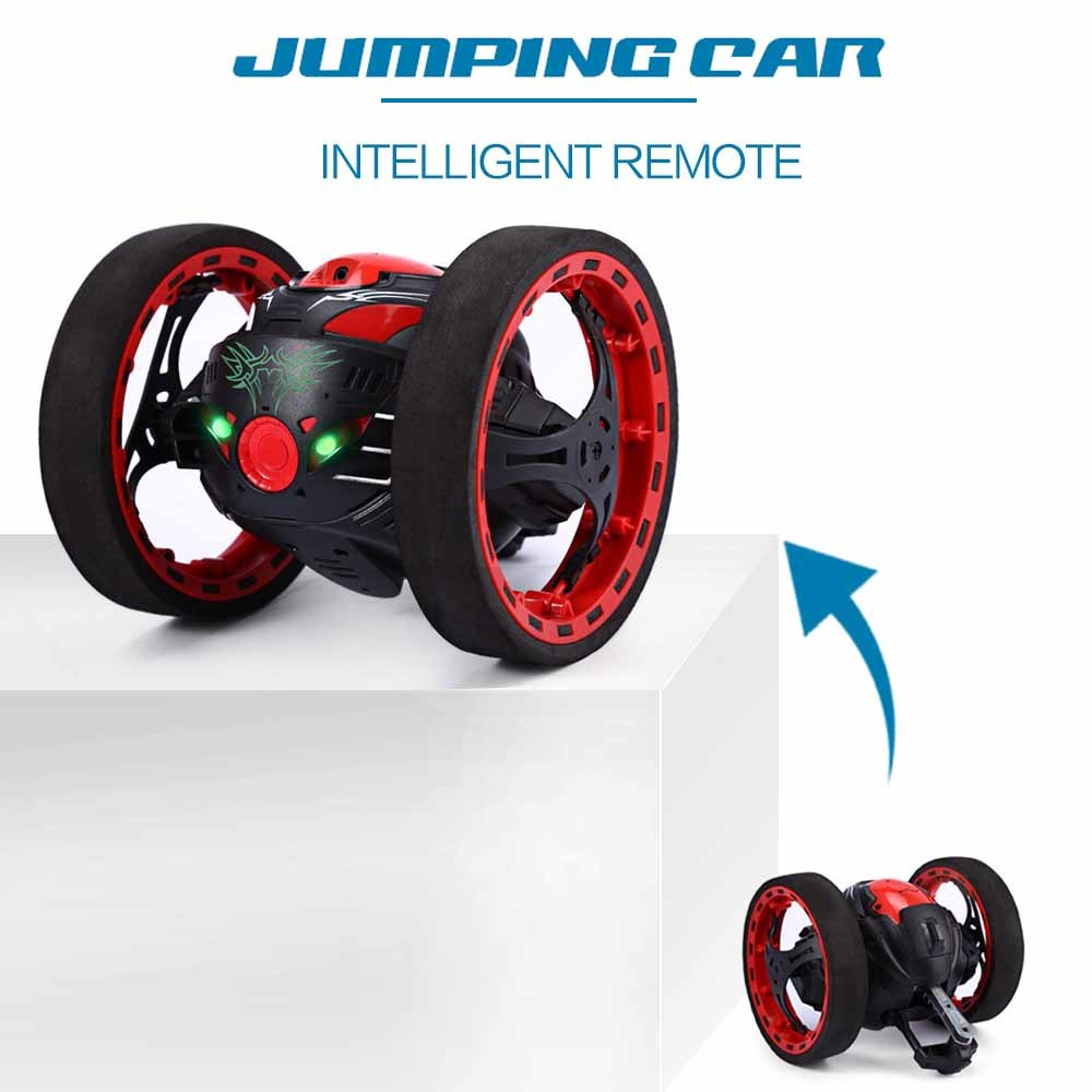 New Mini Cars Bounce Car 2.4GHz RC Car with Flexible Wheels Rotation LED Light Remote Control Robot Car for kids Gift Toy