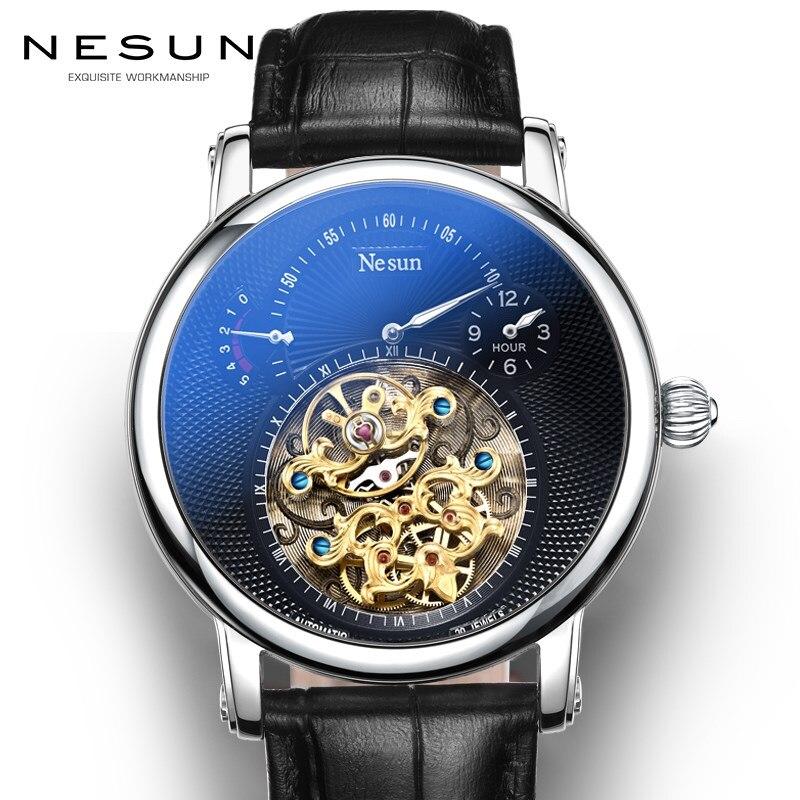 Suisse Marque De Luxe Nesun Creux Tourbillon Hommes Automatique Mécanique Hommes de Montres Saphir Étanche horloge N9081-3