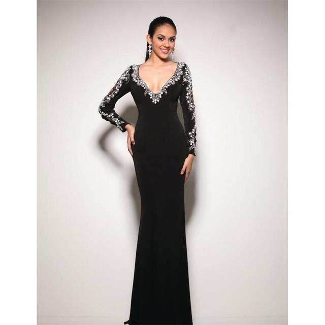 Elegant Mermaid Crystal Dubai Style Abayas Formal Black Evening ...