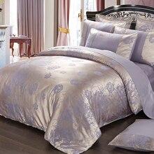 purple flowers satin silk jacquard bedding set home textile 4pc luxury bedclothes bed linen sheet set
