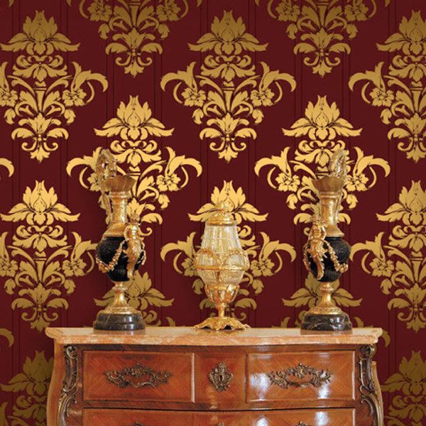 2014 new luxurious red gold silver glitter damascus wallpaper papel de parede upscale hotel ktv bar - Red And Gold Interior Design