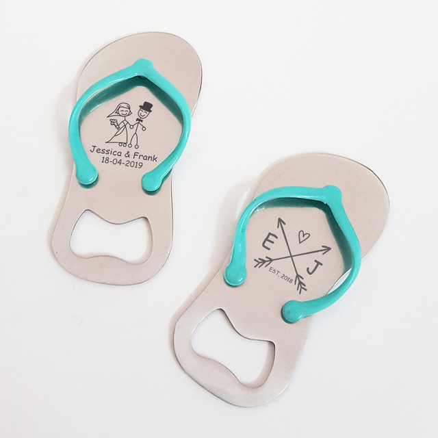 31fce799f6ccd Personalized Wedding Anniversary Party Favor Flip Flop Jandal Shaped Beer Bottle  Opener Beach Themed Wedding Souvenir