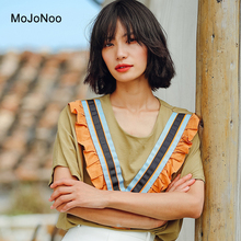 MOJONOO 2017 New Ladies Autumn Casual Tops Stripe Blouses Shirts For Women Ruffle Blouses Loose Cotton Patchwork Shirts Designer