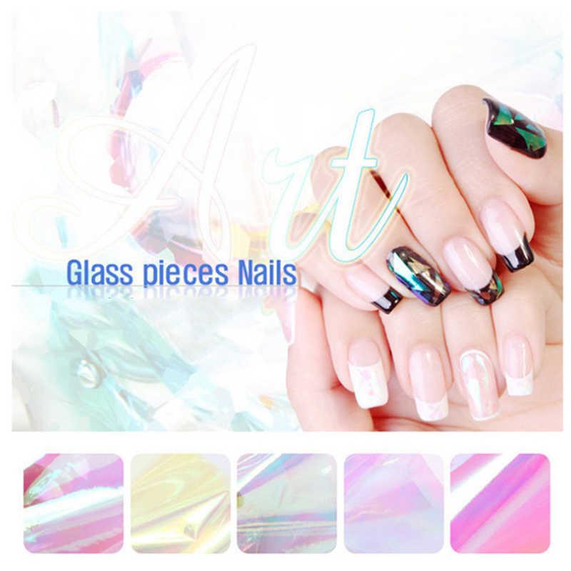 20cm bestsellery nieregularne tłuczone szkło naklejki do paznokci Nail Aurora platynowe papierowe szkło lustrzane naklejki do paznokci