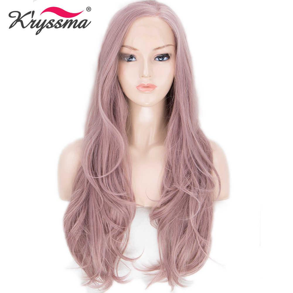 Asche Rosa Synthetische Spitze Front Perücke Lange Wellenförmige Perücken für Frauen 22 Zoll Licht Rosa Natürliche Haaransatz Links Teil Wärme beständig Faser