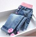 Y30971938 Retail Nova Primavera 2016 Baby Girl Jeans Apliques Arcos Da Menina Da Criança Calças Jeans Coréia Menina Roupas Lolita