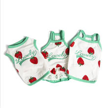 Fashion New summer Pet Dog Strawberry Vest Halter Shirt Clothes Cotton Sweat Teddy Clothing Skirt Spring And Summer