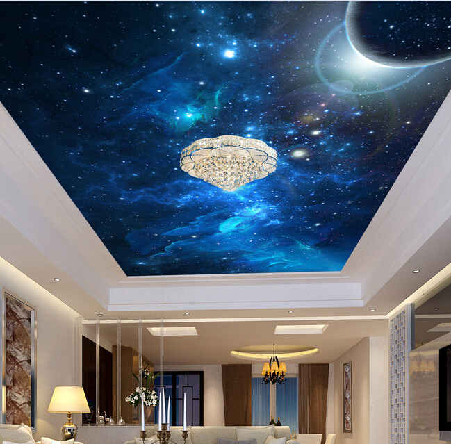 Custom ceiling wallpaper, space star sky mural for the living room bedroom ceiling wall waterproof wallpaper custom 3d stereo ceiling mural wallpaper beautiful starry sky landscape fresco hotel living room ceiling wallpaper home decor 3d