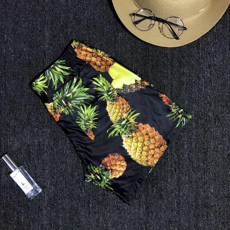 Брендовые мужские купальный костюм с принтом ананаса, мужские шорты, лето для пляжа для купания, плавки, большие размеры 2019