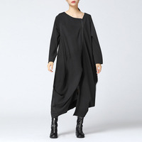 New Celmia Full Sleeve V Neck Open Front Zip Up Ankle Length Dress Female Autumn Casual