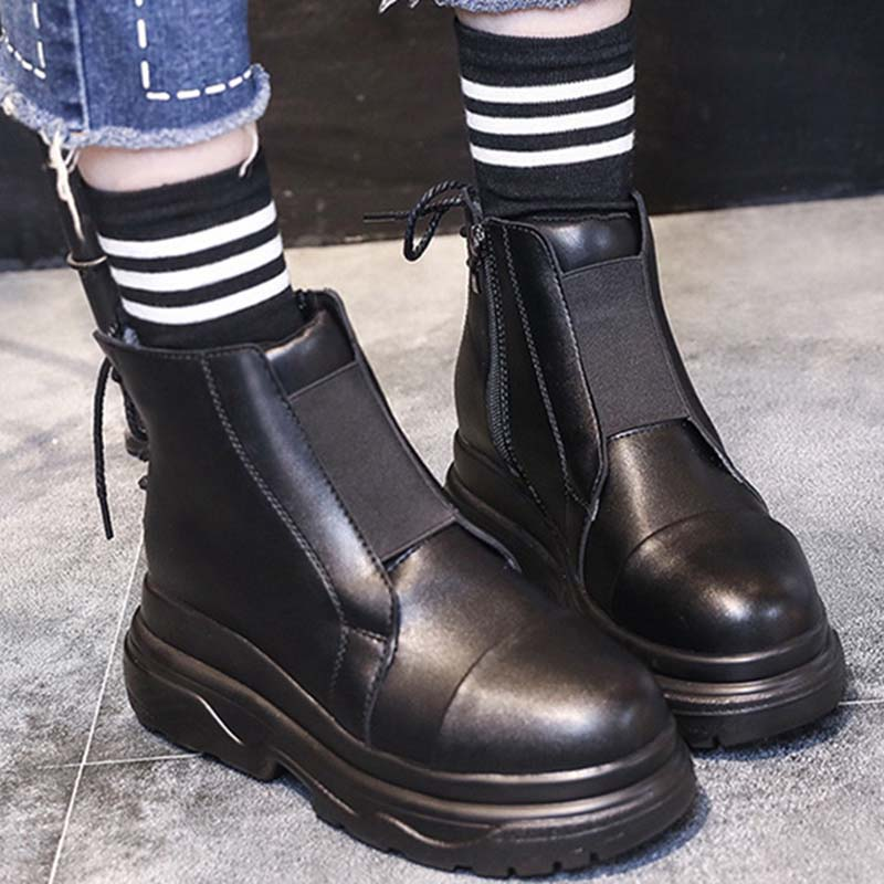 Jookrix Retro zapatos mujer moda marca zapatos Martin botas Lady All Mtach Cross-tied Ankle chaissure Flats negro footware Girls