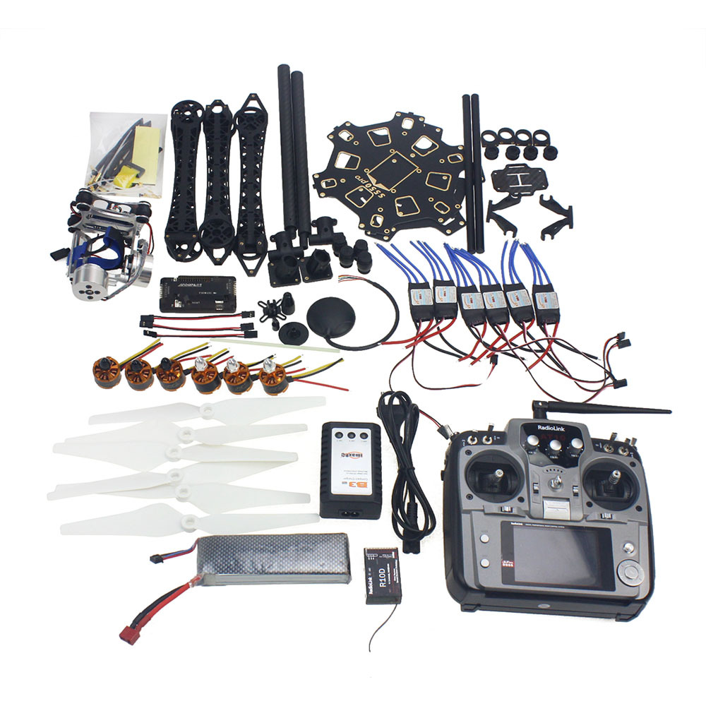 RC Drone Transmitter Gimbal Camera Mount Full Set 6-Axle Aircraft Kit HMF S550 Frame 6M GPS APM 2.8 Flight Control AT10 F08618-P diy set pix4 flight control zd850 frame kit m8n gps remote control radio telemetry esc motor props rc 6 axle drone f19833 d