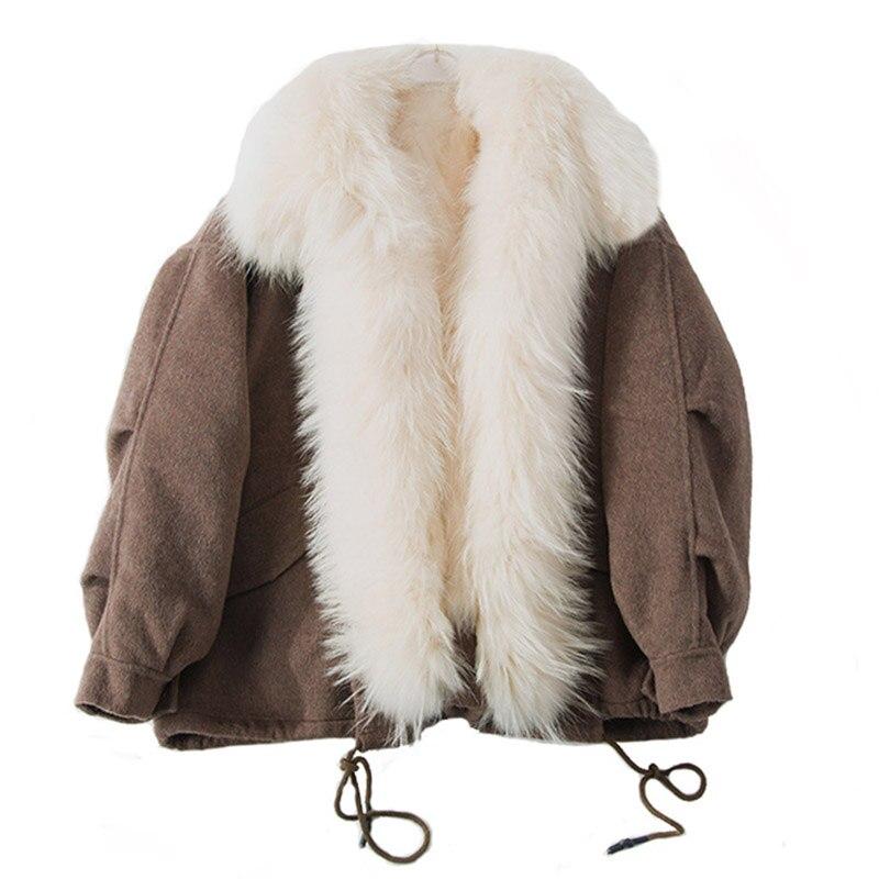 2018 nouveau femmes de luxe véritable fourrure de mouton manteau avec de la vraie fourrure à l'intérieur et collet de finition chaud de mode d'hiver printemps Amovible parkas