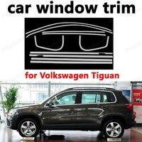 Araba Styling Pencere Trim için Araba Dış Aksesuar Dekorasyon Şeritleri volkswagen Tiguan Paslanmaz Çelik sütun olmadan