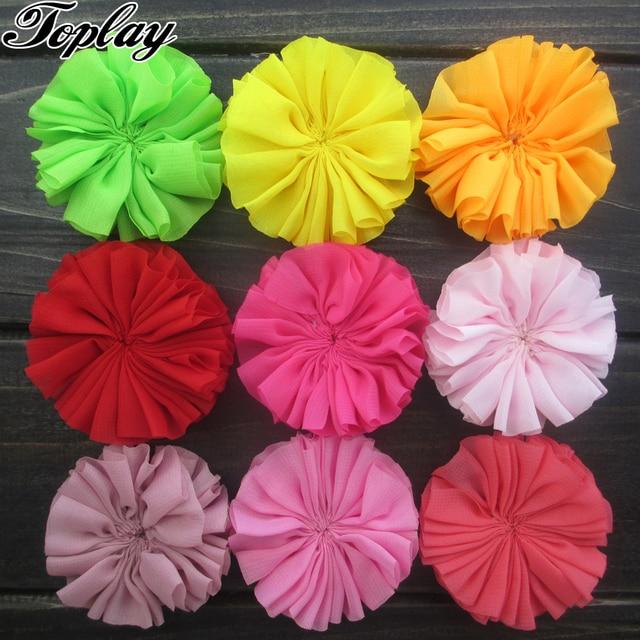 "Toplay 60pcs/lot 2.5"" Scalloped Chiffon Flowers Ballerina Flower Girls Hair Accessories Boutique Hair Flower Apparel Accessory"