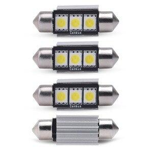 4pcs Festoon Error Free 3smd 5050 36mm 31mm 39mm 42mm 12V Canbus C5W For car external light