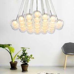 Image 1 - نجفة حديثة بإضاءة LED مصباح كرة زجاجي إسكندنافي مصابيح معلقة لغرفة المعيشة ديكورات منزلية لغرفة الطعام تركيبات لغرفة النوم