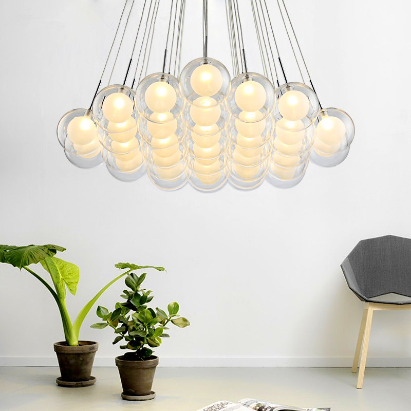 Modern LED Chandelier Lighting Nordic Glass Ball  Lamp Living Room Hanging Lights Home Deco Dining Room Bedroom Fixtures