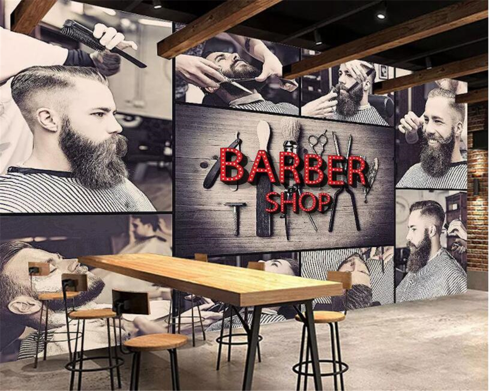 Large custom wallpaper 3D stereoscopic modern hairdressing fashion barbershop background wall painting 3d beibehang