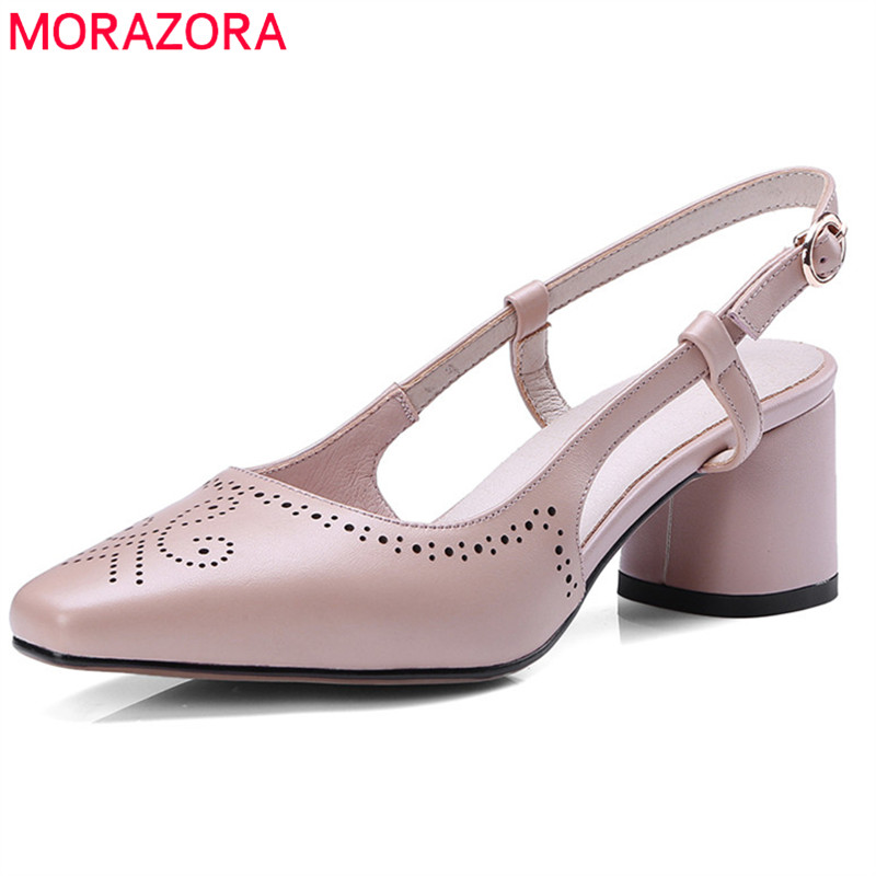 MORAZORA 2020 genuine leather fashion summer shoes simple buckle women sandals elegant party wedding shoes high