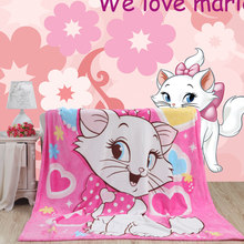 Marie cat pattern coral fleece blankets on bed towel Air condition Sleep cover bedding the thorws can as bed sheet(China)