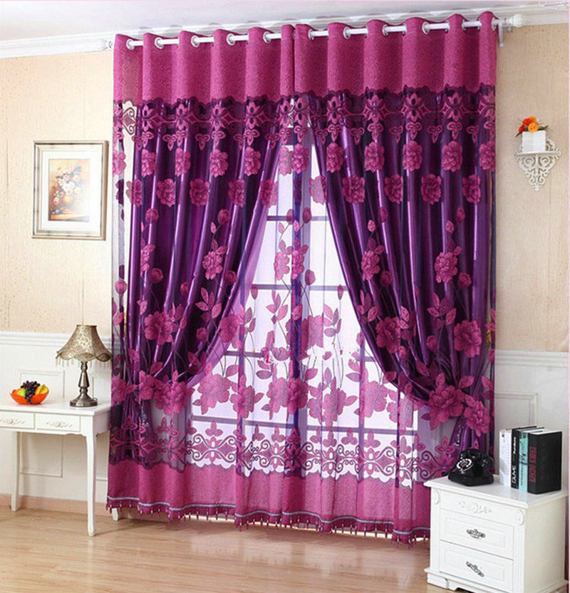 Free Shipping Ready Made Luxury Curtains For Lving Room Bedroom Tulle 100 Blackout Curtain Purple Brown Making Online Store In From Home Garden