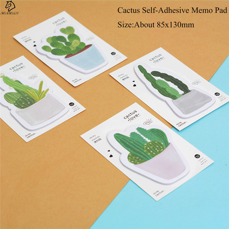 Fresh Cactus Love Self-Adhesive Kawaii Sticky Notes Post Memo Pad School Supplies Planner Stickers Paper Bookmarks