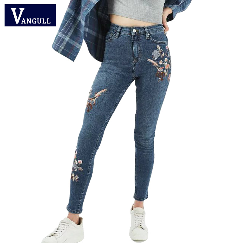 Floral embroidery jeans female slim casual denim pants 2017 summer skinny jeans woman blue trousers jeans pockets bottom clothes fashion flowers embroidery jeans woman blue casual pants capris 2017 spring summer denim jeans female bottom trousers clothing