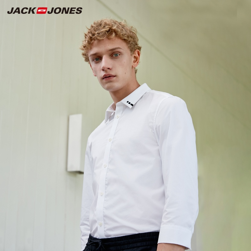 JackJones Men's 100% Cotton Basic Embroidered 3/4 Sleeves Shirt C|219131502