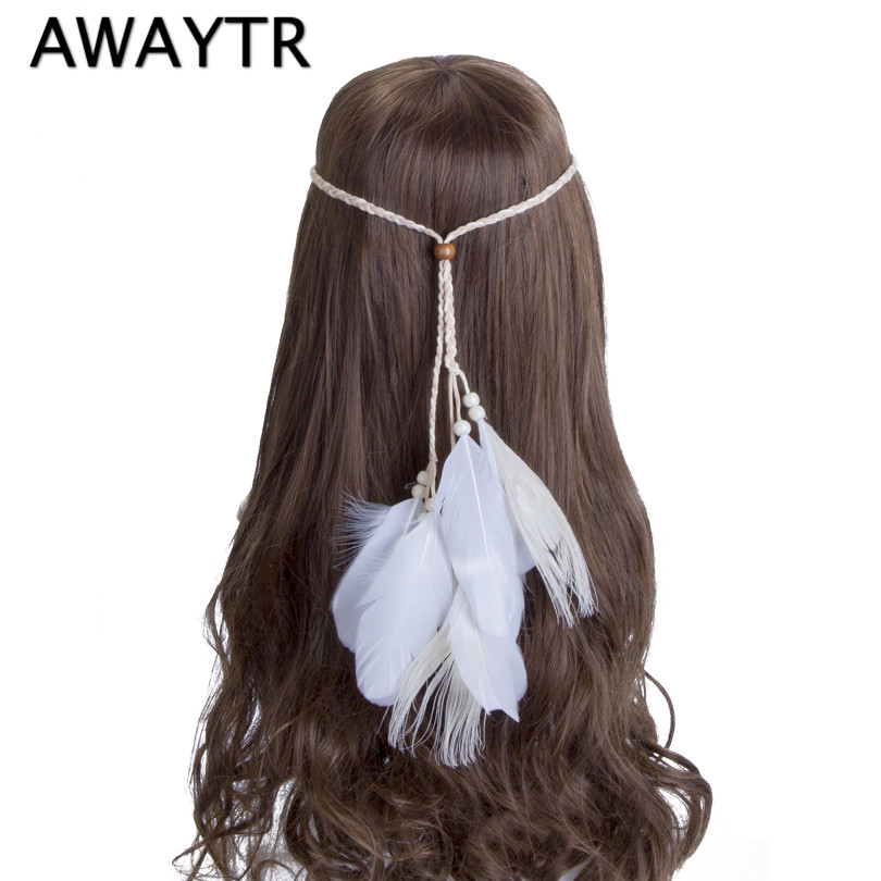 AWAYTR Festival White Feathers Drape Down from a Tan Woven Braided Headband Native American Style Bridal Wedding Headband
