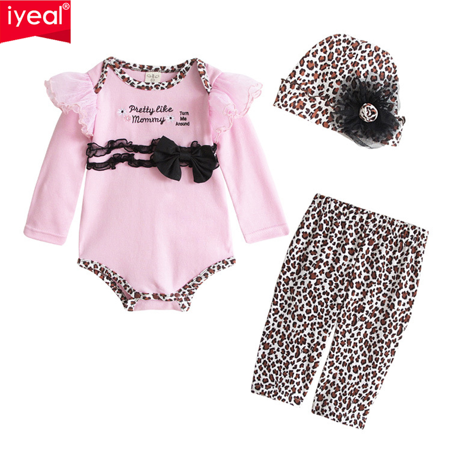 IYEAL High Quality New Arrival 2018 Fashion Baby Clothes Set Autumn Suit For Newborn Baby Romper+Pant+Cap 3 Pcs Clothing Sets 2018 real new arrival fashion polyethersulfone cotton unisex baby girl clothing spring autumn 3 unids set zipper newborn suit