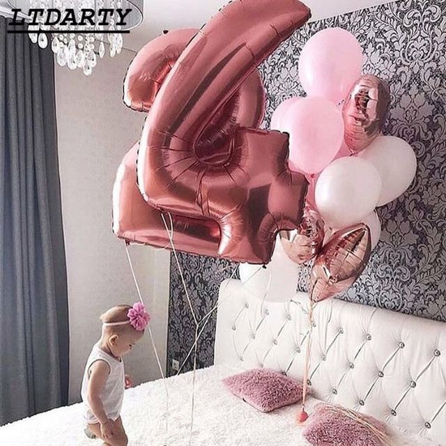 40inch Rose Gold Silver Pink Blue Large Size Number Foil Helium Balloons Birthday Wedding Party Decor Celebration Balls Supplies