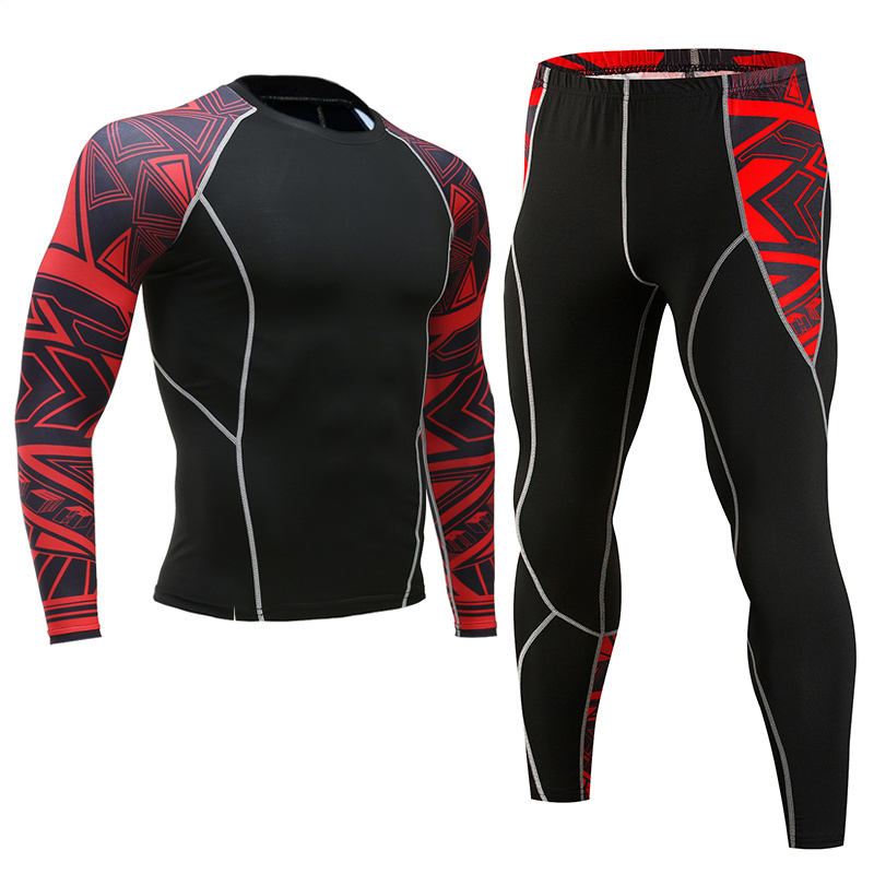 Men Compression Running Jogging Suits Clothing Sports Set Long T Shirt And Pants Gyms Fitness Workout Tights Clothes 2pcs / Sets