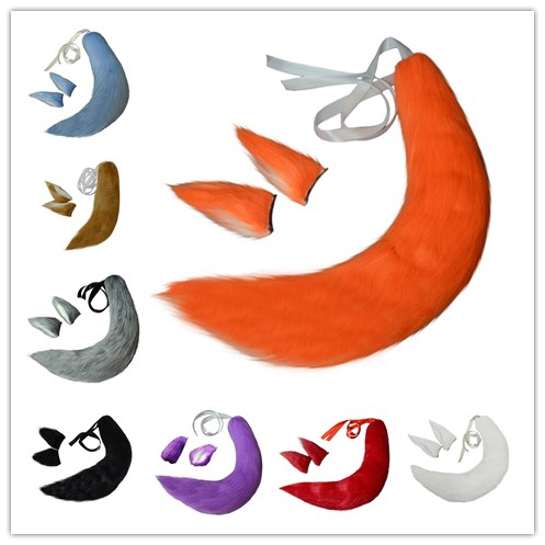 Novelty & Special Use Fox Cat Dog Animal Plush Tail Clip Ears Halloween Cosplay Props Anime Spice And Wolf Kamisama Kiss Plushie Tails Soft Fuzzy Toy