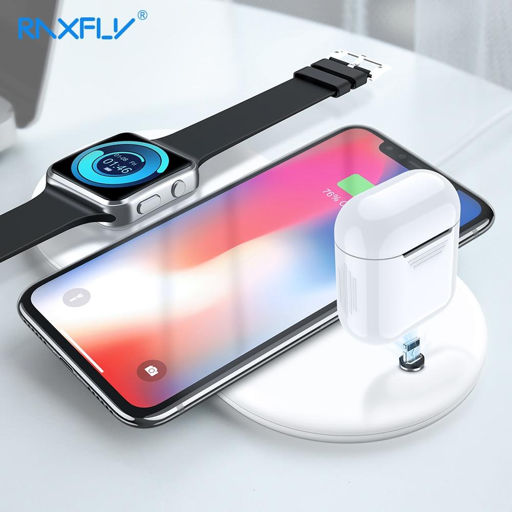 3 IN 1 Caricatore Senza Fili QI RAXFLY Caricatore Senza Fili Per iPhone X Xr XS Max Orologio Per AirPods Del Telefono Mobile veloce di Ricarica Per Samsung