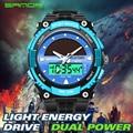 Sanda solar reloj de los deportes de los hombres militares reloj de cuarzo digital de energía solar dual time sports impermeable g choque relojes de moda