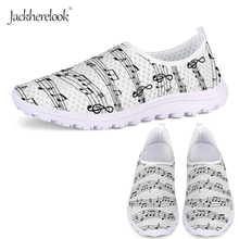 Jackherelook Women Flat Shoes White Music Notes Sneakers for Female Breathable Ladies Summer Mesh Shoes Casual Flats Super Light