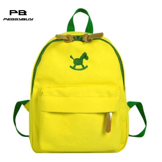 c256bca523 Cute Kids Backpacks Shoulder Small Schoolbags Boys Girls Wood Horse Printed  Canvas Satchel kindergarten Child Casual Pouch Bolsa