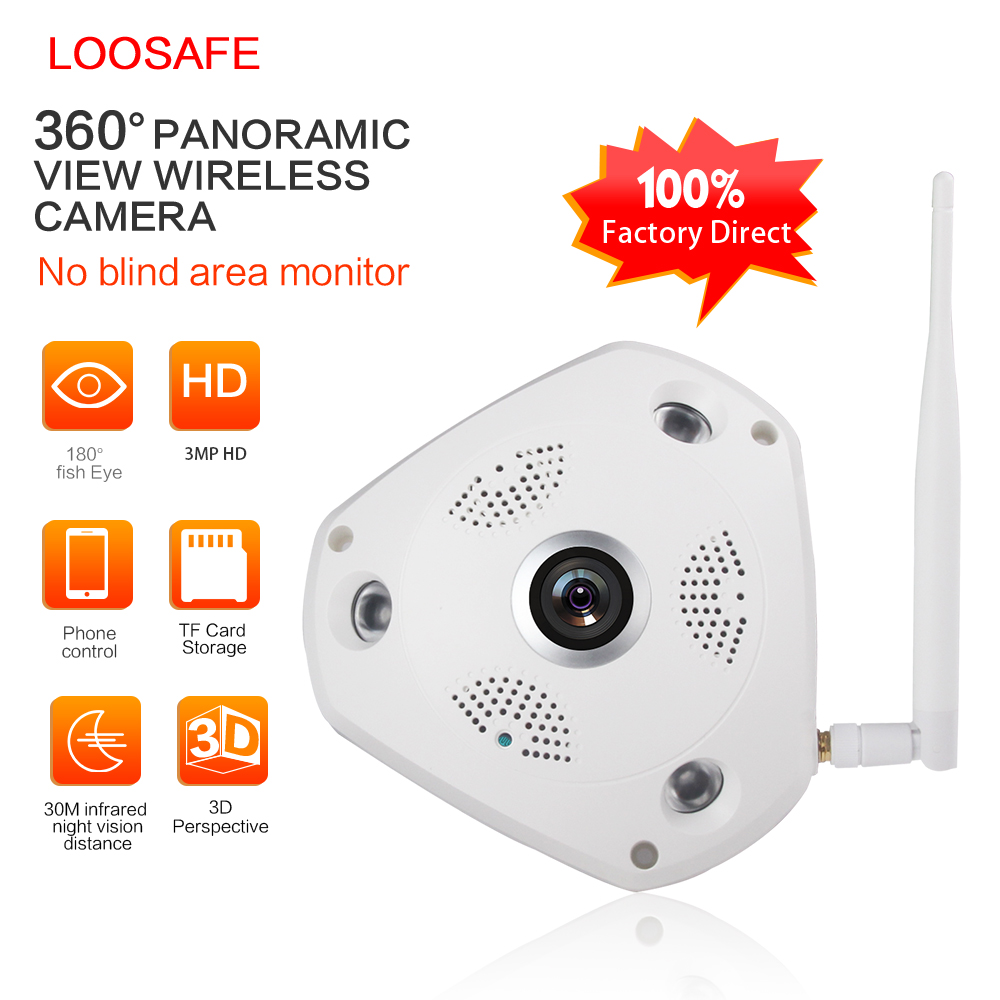 bilder für LOOSAFE 360 Grad CCTV VR Ip-kamera 2MP 3MP HD Vision Cctv-kamera Home Security Fischaugen Objektiv IP Cam