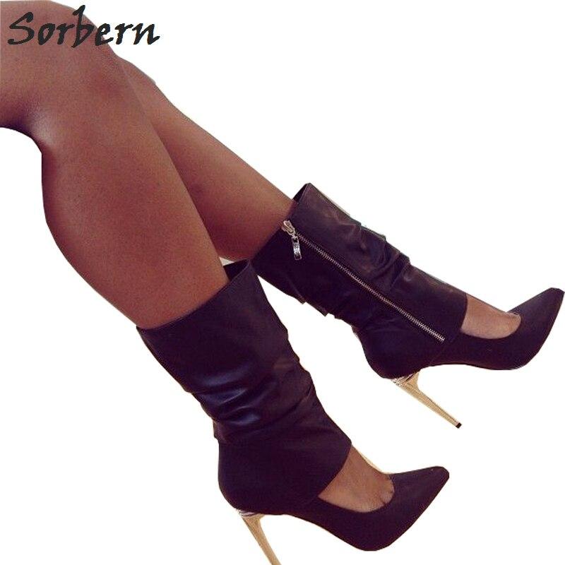 Sorbern Dames Détachable mollet Chaussures Noir porter Talons Mi Hauts Femmes Bout Bottes Façon Pointu Stilettos Jambe custom Deux Service f6g7ybYv