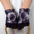 2016 New Fashion Faux Rabbit Fur and Pu Leather Gloves Winter Warm Mitten Women Glove Luvas