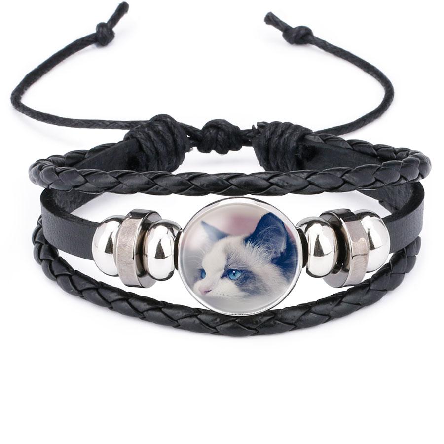 Girls Leather Cute Cat Bracelet