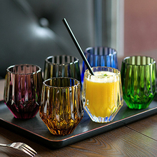 Retro style Lead-free Crystal Cups Whiskey Sculpture Juice Glass Goblet Wine Engraved Color
