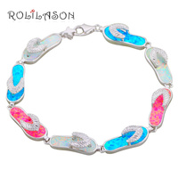 14 23g Bracelets Wholesale Retail Flip Flops Color Fire Opal Silver 925 Stamped Fashion Jewelry Party