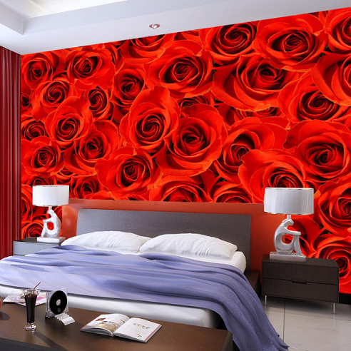 Wholesale Red Rose Flower Murals 3d Painting Canvas Mural