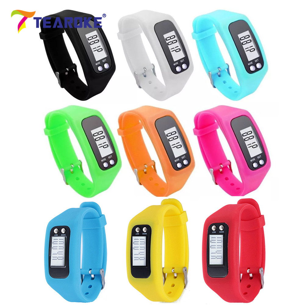 TEAROKE LCD Digital Pedometer Women Men Fashion Silicone Bracelet Run Step Walking Distance Counter Outdoor Sport Clock for kids 10color digital lcd pedometer run step walking distance calorie counter men women watch bracelet watch reloj hombre montre femme