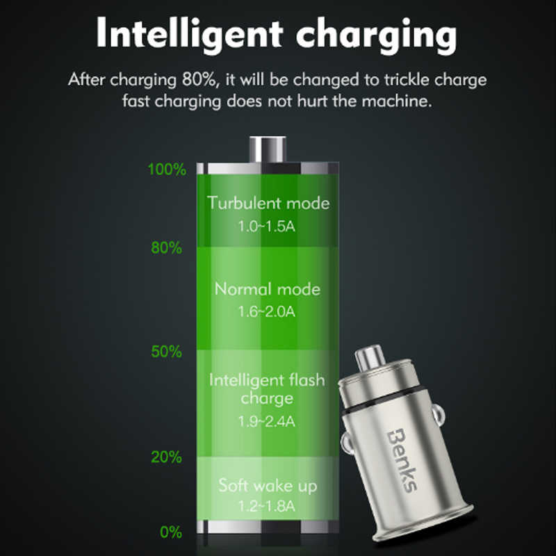 Benks المزدوج USB ميناء شاحن سيارة سريعة الإضاءة آيفون X 10 8 7 هواوي سامسونج غالاكسي S7/S6 unvierسال 4.8A سريع شاحن السيارات